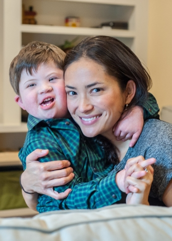 Joshua Copen and his mom, Iara Peng, are grateful that Kay Chang, MD, pediatric otolaryngologist and otologic surgeon at Lucile Packard Children's Hospital Stanford and Stanford Children's Health, passionately advocated cochlear implants for Joshua. (Photo: Business Wire)