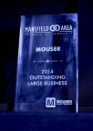 Mouser Electronics receives the award for 2014 Outstanding Large Business of the Year. (Photo: Business Wire)