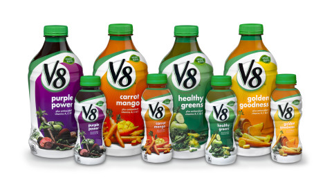 V8(R) launches NEW V8 Vegetable and Fruit Juice Beverages, including Healthy Greens, Purple Power, G