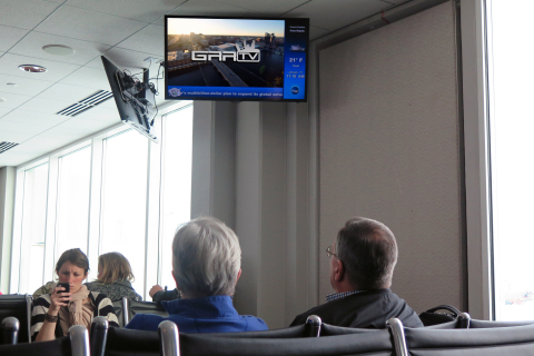 Travelers through Gerald Ford International Airport, Grand Rapids, Mich. catch up on news and entertainment via GRR-TV from ClearVision and Clear Channel Airports (Photo: Business Wire)