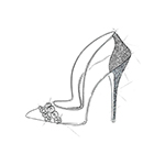 """Cinderella's glass slipper represents every woman's dream shoe. The story, being a classic, inspired me to use my iconic pointed toe silhouette, which I embellished with an array of hand encrusted Swarovski crystals to create the ultimate fantasy shoe. I used transparent PVC to create a 'glass' effect and ivory suede for luxurious texture and dimension."" -Paul Andrew (Graphic: Business Wire)"