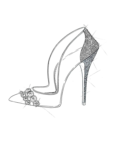 """""""Cinderella's glass slipper represents every woman's dream shoe. The story, being a classic, inspired me to use my iconic pointed toe silhouette, which I embellished with an array of hand encrusted Swarovski crystals to create the ultimate fantasy shoe. I used transparent PVC to create a 'glass' effect and ivory suede for luxurious texture and dimension."""" -Paul Andrew (Graphic: Business Wire)"""