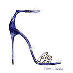 """The stroke of midnight is a wonderful element of the Cinderella fairytale, it adds tension and intensity to the story. I was inspired by that when I designed this style for Cinderella and the result is a dramatic midnight-blue glitter sandal on a sky-high heel. The clear strap is reminiscent of the crystal slipper, while the refined gold and silver trims add the right amount of whimsy to the design. I wanted to create something that, if left behind, the Prince would feel even more captivated by Cinderella's allure."" -Jerome C. Rousseau (Graphic: Business Wire)"