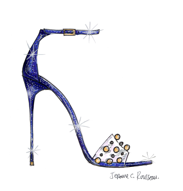 """""""The stroke of midnight is a wonderful element of the Cinderella fairytale, it adds tension and intensity to the story. I was inspired by that when I designed this style for Cinderella and the result is a dramatic midnight-blue glitter sandal on a sky-high heel. The clear strap is reminiscent of the crystal slipper, while the refined gold and silver trims add the right amount of whimsy to the design. I wanted to create something that, if left behind, the Prince would feel even more captivated by Cinderella's allure."""" -Jerome C. Rousseau (Graphic: Business Wire)"""