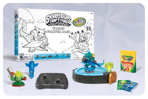 Skylanders Trap Team Crayola Color Alive! Starter Pack. Skylanders Trap Team Crayola Color Alive! Starter Packs hit retail shelves this spring featuring black and white line art of Skylanders characters for Portal Masters to color. Using Crayola's Magic Crayons included in the Starter Pack, fans can watch the characters come alive on their smartphones or tablets through the Crayola Color Alive! 4D Experience app. This limited edition Starter Pack will be available in April for the suggested retail price of $74.99 on Xbox 360, Wii, Wii U, PlayStation 3 and select iPad, Kindle Fire and Android tablets. (Photo: Business Wire)