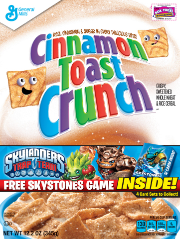 Skylanders Skystones Makes Its Way to Big G cereal boxes. Beginning February 14, Activision and General Mills will bring the fan-favorite Skylanders Skystones game to select Big G cereal boxes, marking Activision's first entry into the cereal category. Available at participating retailers across North America, fans will find Skylanders Skystones packs inside boxes of Honey Nut Cheerios, Cinnamon Toast Crunch, Reese's Puffs, Trix, Lucky Charms and more while supplies last. (Photo: Business Wire)