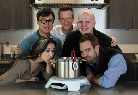 The Paragon development team has some fun with their new love! (L to R) Amelia Gandara (FirstBuild team member), Aaron Ma (one of the Paragon challenge winners), Taylor Dawson (FirstBuild team member), Symon Harrah (Industrial designer who led design of Paragon) and Justin Berger (FirstBuild team member). (Photo: GE)