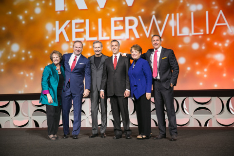 Mo Anderson, John Davis, Gary Keller, Chris Heller, Mary Tennant and Mark Willis after the announcement of Keller Williams Realty being the largest real estate franchise company in the world. (Photo: Business Wire)