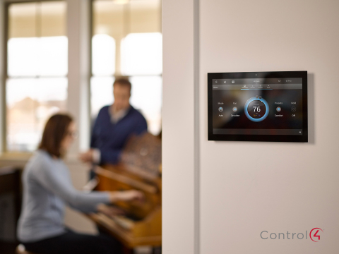 Control4's beautiful new touch screens and comfort control user interface create an intuitive and gorgeous experience for the home. (Photo: Business Wire)