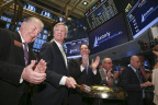 Easterly Government Properties, Inc., rings the opening bell the day of their IPO at the New York Stock Exchange Friday, Feb. 6, 2015, in New York. Michael Ibe, Bill Trimble and Darrell Crate pictured from left to right. (Photo: Business Wire)