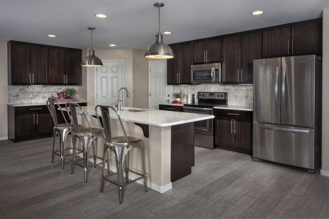 A spacious kitchen modeled in a 2,561 square foot KB home at the builder's Copper Ranch Villas commu