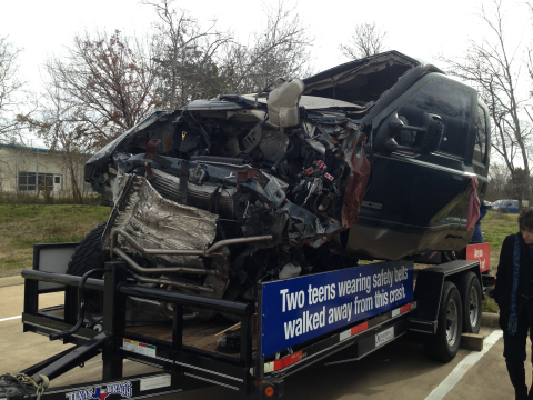 "This TxDOT display is touring Texas to encourage students to ""Click It or Ticket."" Two Texas teenagers walked away from this mangled truck because they were wearing seat belts. (Photo: Business Wire)"