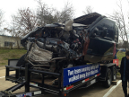 """This TxDOT display is touring Texas to encourage students to """"Click It or Ticket."""" Two Texas teenagers walked away from this mangled truck because they were wearing seat belts. (Photo: Business Wire)"""