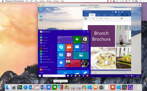 Windows 10 Technology Preview and Word Preview for Windows 10 running in Parallels Desktop 10 on a Mac running OS X Yosemite. Download a free trial of Parallels Desktop for Mac at www.parallels.com/desktop. (Photo: Business Wire)