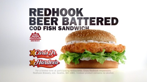 Featuring the distinctive flavor of Redhook's ESB (Extra Special Bitter) ale, the Redhook Beer-Battered Cod Fish Sandwich is now available at Carl's Jr. and Hardee's restaurants. (Photo: CKE Restaurants)