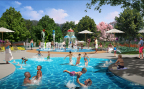 The splash pad and zero-entry pool make the Swimming Hole an interactive gathering place for the whole family. (Photo: Business Wire)
