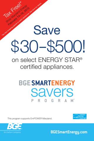 BGE reminds customers to shop Maryland's upcoming tax-free weekend, Shop Maryland Energy, to combine savings from tax-free shopping with BGE Smart Energy Savers Program® rebates on new ENERGY STAR® certified products and appliances. Rebates range from $30 to $500 on qualified energy efficient appliances. Customers can take advantage of BGE Smart Energy Savers Program rebates year-round. For more information visit bgesmartenerg.com. (Graphic: Business Wire)