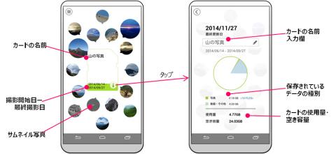 専用アプリ「Memory Card Preview」をインストールした、NFC搭載のAndroid(TM)スマートフォンの画面イメージ (画像:ビジネスワイヤ)