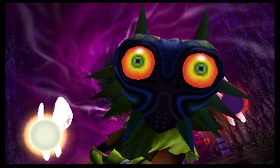 In The Legend of Zelda: Majora's Mask 3D, a masked Skull Kid drags Link into the world of Termina, w ...