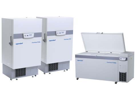 CryoCube® F570h, F570, and FC660h Ultra-Low Temperature Freezers from Eppendorf. (Photo: Business Wi ...