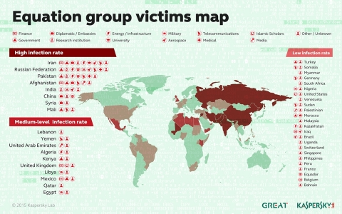 Equation group victims map (Graphic: Business Wire)