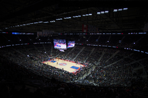 Musco LED System Shines at The Palace of Auburn Hills (Photo: Musco Lighting)