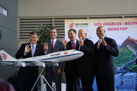 Los Angeles Mayor Eric Garcetti (second from left) joins Dr. Zhihang Chi, Air China's Vice President for North America, and Ambassador Jian Liu of the Chinese Consulate General of the People's Republic of China in Los Angeles in announcing Air China's third daily service between Los Angeles and Beijing. (Photo: Business Wire)