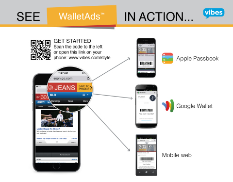 """WalletAds allows consumers to """"tap and save"""" branded content and offers to Apple's Passbook or Google Wallet directly from a mobile ad. Experience the technology by going to www.vibes.com/style on your phone or scan the barcode above. (Graphic: Vibes)"""