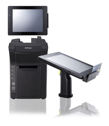 Le système de point de vente mobile Posiflex MT-4008W (de droite à gauche): une tablette mobile 8 pouces intégrant avec une poignée pistolet amovible. Dès que la tablette est installée sur sa station d'accueil, elle dispense les mêmes caractéristiques et fonctionnalités qu'un point de vente (PDV) tout-en-un. Source: Posiflex Technology, Inc. (Photo: Business Wire)