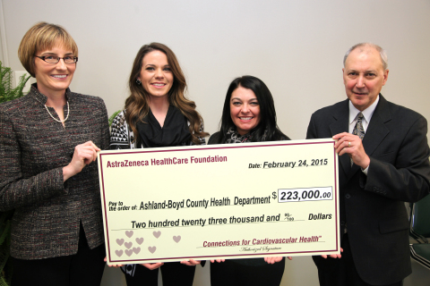 From left to right: L. Kristin Newby, MD, MHS, Trustee, AstraZeneca HealthCare Foundation; Jennifer Klaiber, Public Health Services Coordinator/ A.P.P.L.E. Program Coordinator, Ashland-Boyd County Health Department; Holly West, Public Health Services Manager, Ashland-Boyd County Health Department and James W. Blasetto, MD, MPH, FACC, Chairman, AstraZeneca HealthCare Foundation at a ceremony today for the presentation of a grant for $223,000 to Ashland-Boyd County Health Department from the AstraZeneca HealthCare Foundation. The event took place at West Virginia Health Right, Inc. in Charleston, W.Va. The AstraZeneca HealthCare Foundation has announced grants totaling over $2.6 million to 13 U.S.-based nonprofit organizations across the country dedicated to improving cardiovascular health in local communities. (Photo: Business Wire)