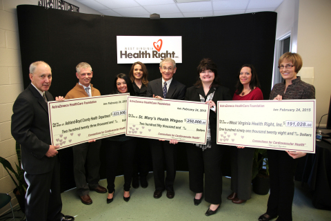 From left to right: James W. Blasetto, MD, MPH, FACC, Chairman, AstraZeneca HealthCare Foundation; Tim O'Toole, Director of Rehabilitation, Our Lady of Bellefonte Hospital; Holly West, Public Health Services Manager, Ashland-Boyd County Health Department; Jennifer Klaiber, Public Health Services Coordinator/ A.P.P.L.E. Program Coordinator, Ashland-Boyd County Health Department; David Shapiro, Vice President, Board of Directors, West Virginia Health Right, Inc.; Dr. Angie Settle, Executive Director, West Virginia Health Right, Inc.; Jennifer Burchett, Nurse Administrator/A.P.P.L.E. Program Director, Ashland-Boyd County Health Department and L. Kristin Newby, MD, MHS, Trustee, AstraZeneca HealthCare Foundation at a ceremony today for the presentation of grants totaling $664,028 to three Appalachia-based nonprofit organizations: Ashland-Boyd County Health Department in Ashland, Ky., St. Mary's Health Wagon in Wise, Va. and West Virginia Health Right, Inc. in Charleston, W.Va. from the AstraZeneca HealthCare Foundation. The event took place at West Virginia Health Right, Inc. The AstraZeneca HealthCare Foundation has announced grants totaling over $2.6 million to 13 U.S.-based nonprofit organizations across the country dedicated to improving cardiovascular health in local communities. (Photo: Business Wire)
