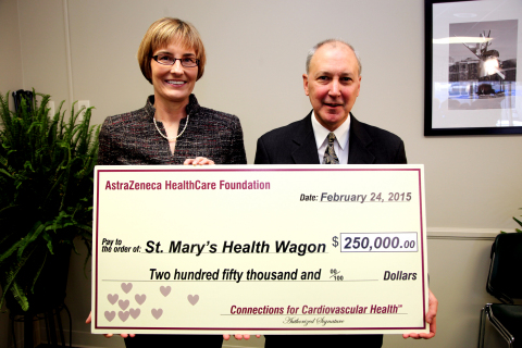 From left to right: L. Kristin Newby, MD, MHS, Trustee, AstraZeneca HealthCare Foundation and Dr. James W. Blasetto, Chairman, AstraZeneca HealthCare Foundation at a ceremony today for the presentation of a grant for $250,000 to St. Mary's Health Wagon from the AstraZeneca HealthCare Foundation. The event took place at West Virginia Health Right, Inc. in Charleston, W.Va. The AstraZeneca HealthCare Foundation has announced grants totaling over $2.6 million to 13 U.S.-based nonprofit organizations across the country dedicated to improving cardiovascular health in local communities.