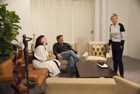 Ellen's Design Challenge finalists Katie Stout (left) and Tim McClellan (center) speak to Ellen DeGeneres (right) before the last round of competition on HGTV's popular furniture design series. (Photo: Business Wire)