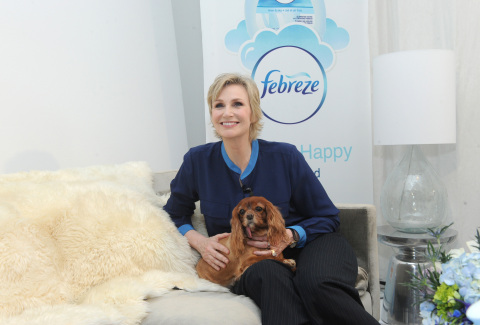 Jane Lynch, with Instagram star, Toast Meets World, partners with Febreze to educate pet owners about getting their homes guest-ready by safely eliminating pet odors with Febreze products that are on the ASPCA Pet Friendly Living product list, Wednesday, Feb. 25, 2015, in New York. (Photo by Diane Bondareff/Invision for Febreze/AP Images)