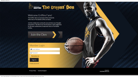 Demo Sports Fan Council log-in page for fans (Graphic: Business Wire)
