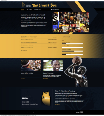 Demo Sports Fan Council welcome page for fans (Graphic: Business Wire)