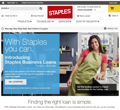 Staples Business Loans. (Photo: Business Wire)