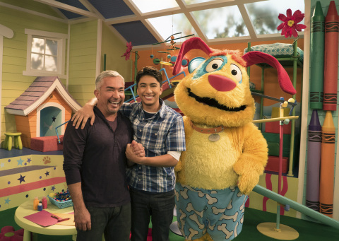 Pictured: (L-R) Cesar Millan, Calvin Millan and Stuff in Mutt & Stuff, a new live-action preschool s