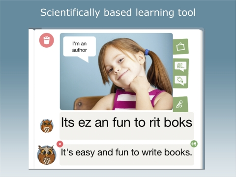 Children can use the app's recording function to tell their stories, which subsequently can be put into writing through WriteReader's speak to text feature. Other key features are the phonetic keyboard and an interface allowing the parent, teacher and/or older sibling to write the text in conventional writing below the child's version. When the child compares his or her writing with the writing of the mentor, the child learns and remembers the spelling of often used words as well as significant nuances and elements of the written language (Graphic: Business Wire)