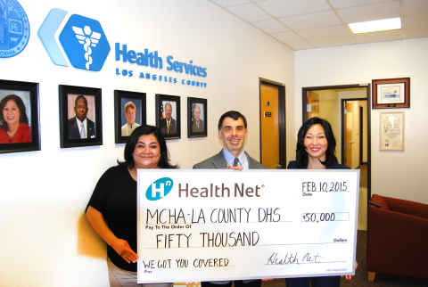 Health Net, Inc. provided a $50,000 charitable grant to Maternal and Child Health Access (MCHA) that will help it - in collaboration with the Los Angeles County Department of Health Services - train those who enroll Los Angeles County residents and their family members in Medi-Cal, Covered California, or the county's no-cost health care services program, My Health LA. From left to right: Liz Ramirez, director of training for Maternal and Child Health Access, Mitch Katz, M.D., director of the Los Angeles County Department of Health, and Carol Kim, director of public affairs for Health Net. (Photo: Business Wire)