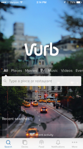 Vurb App Home Screen (Photo: Business Wire)