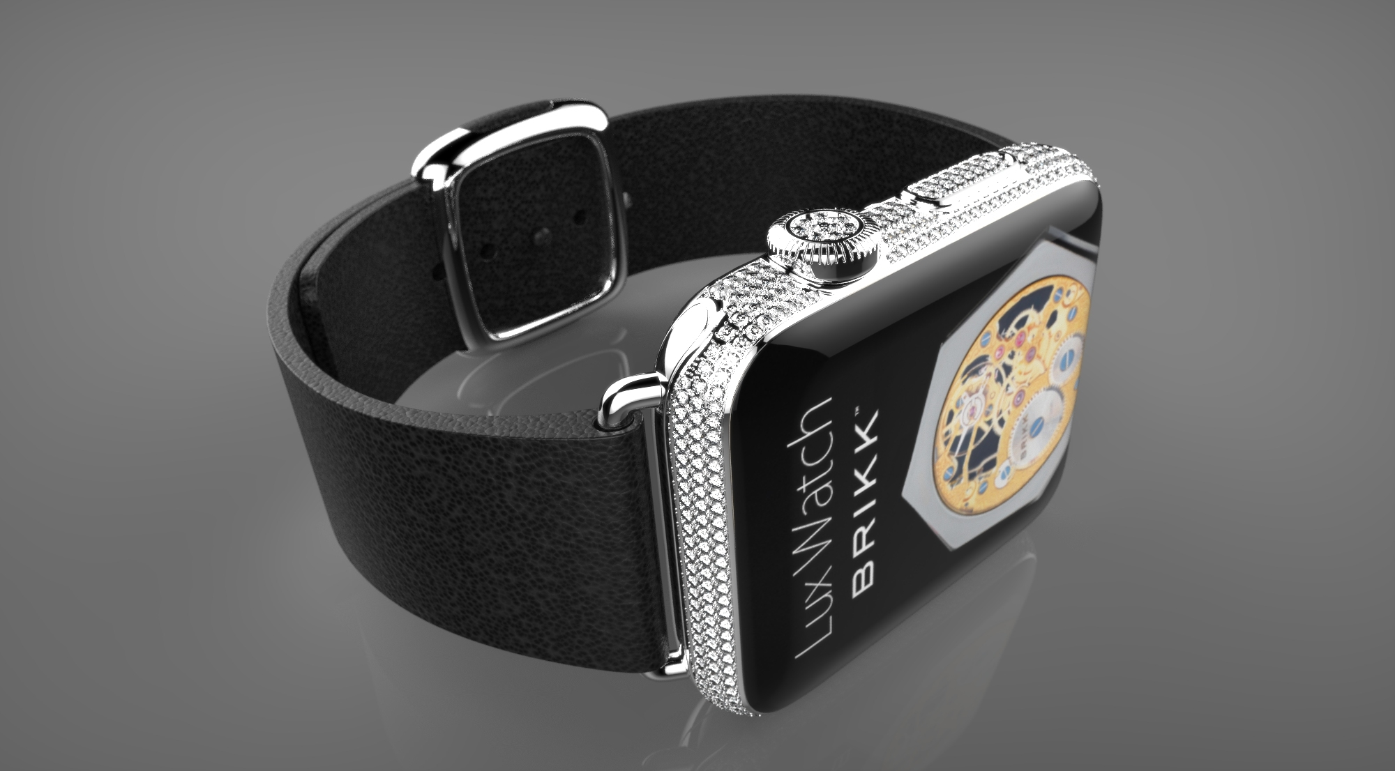 Apple Watch: Brikk Lux Deluxe in platinum with 2.3 carats of diamonds. (Photo: Business Wire)