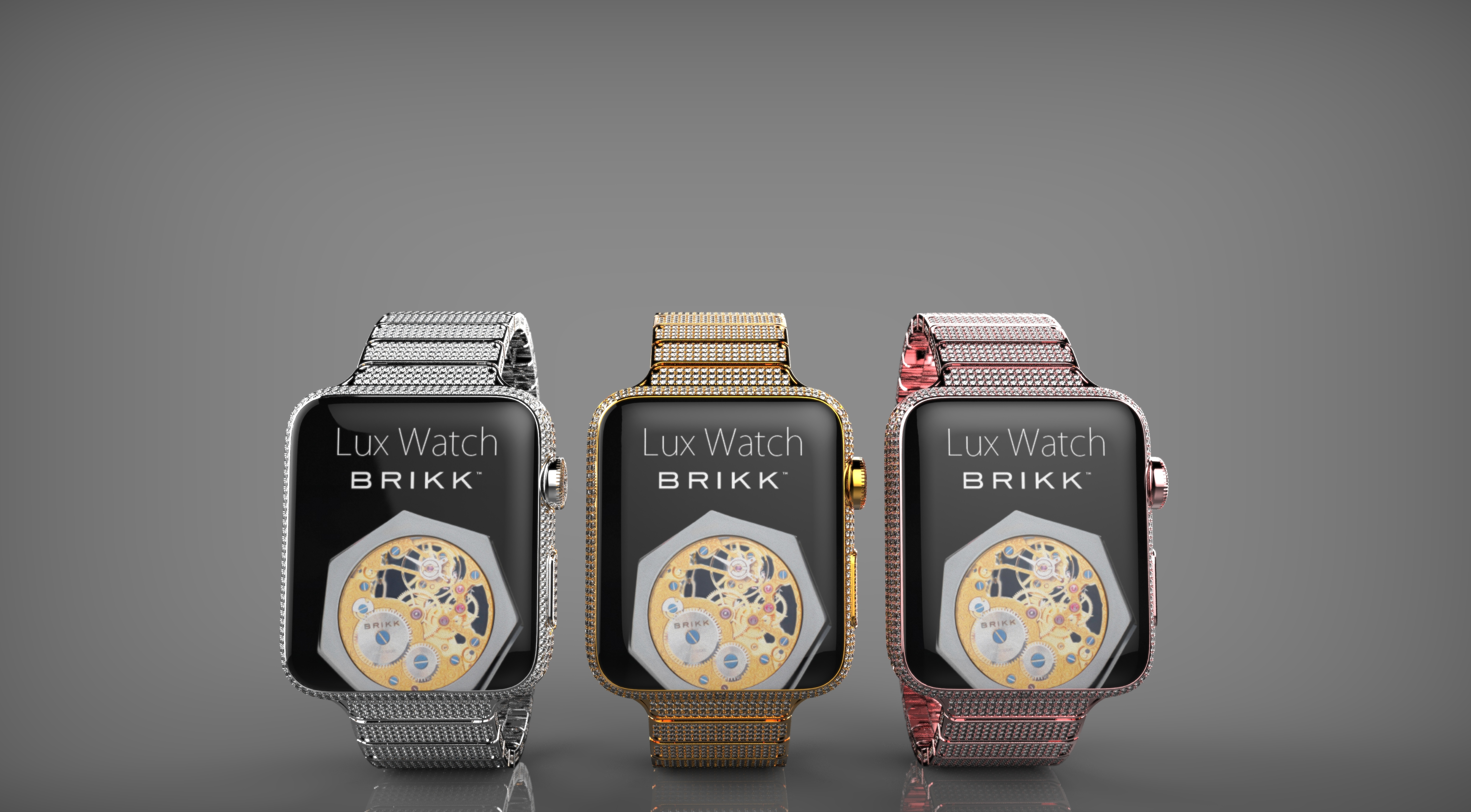 Apple Watch: Brikk Lux Watch Omni collection with 12.3 carats of diamonds each. Platinum, Pink Gold and Yellow Gold. $74,995 each. (Photo: Business Wire)
