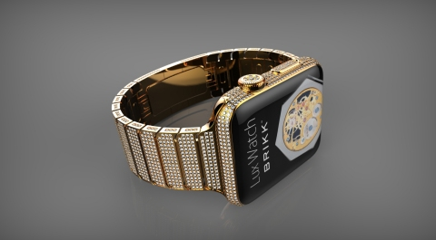Apple Watch: Brikk Lux Watch Omni in 24k yellow gold with 12.3 carats of diamonds. (Photo: Business Wire)