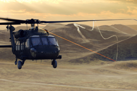 BAE Systems' Advanced Threat Infrared Countermeasures (ATIRCM) system shines laser light to defeat i ...