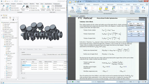 Embed a PTC Mathcad Prime 3.1 worksheet inside a PTC Creo model to document the design and bi-directionally share data between PTC Mathcad and PTC Creo (Graphic: Business Wire)