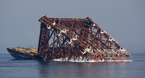 The jacket installation calls for highly specialized engineering by McDermott to simulate the expected behavior of the structure during launch to ensure a safe and successful operation. (Photo: Business Wire)