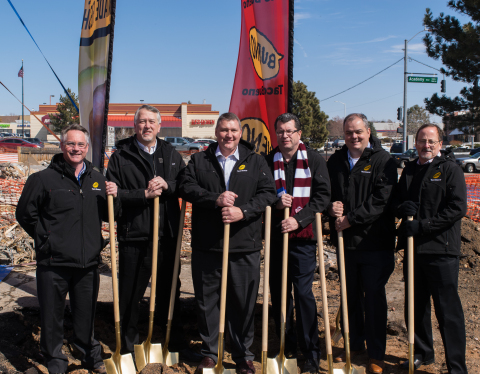 Taco Bueno executives break ground on the newest location in Colorado Springs, Colo. From left: Philip Parsons, chief financial officer; Ed Lambert, chief executive officer; Kenn Miller, vice president of development; Mike Roper, president; Alan Wyse, vice president of operations; Jeff Carl, chief marketing officer (Photo: Business Wire)