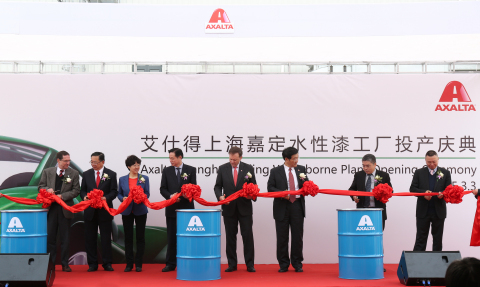 Axalta Chairman & CEO Charlie Shaver, Axalta executives and guests cutting the ribbon to open Axalta ...
