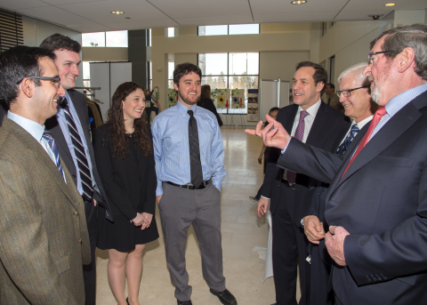 From right, North Shore-LIJ President & CEO Michael Dowling, Hofstra North Shore-LIJ School of Medicine Dean Dr. Lawrence Smith and State Health Commissioner Dr. Howard Zucker chat with medical school students. (Photo: Business Wire)